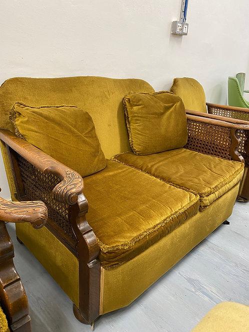 Exceptional 1930's Art Deco Oak Shaped Bergere Harvest Gold Cottage Suite