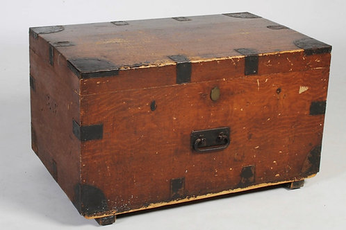 A 19th century stained pine and metal bound silver chest