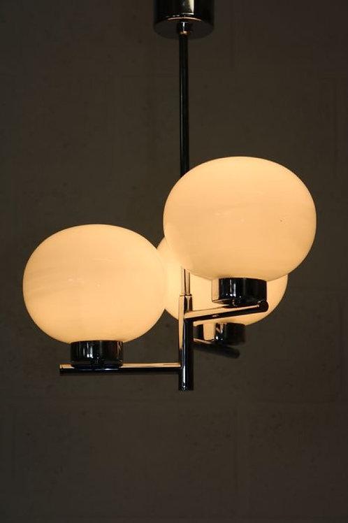 Hanging lamp - chrome 3 glazed balls.