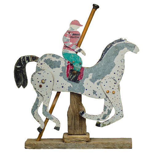 French painted zinc Girouette Horse Rider 1