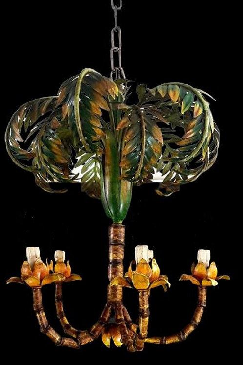 Chandelier, Painted sheet metal palm tree
