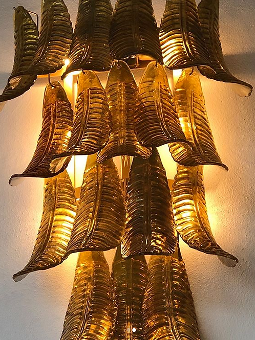 Vintage Italian Murano Wall Lights In The Manner Of Mazzega – AmberGlass Petals