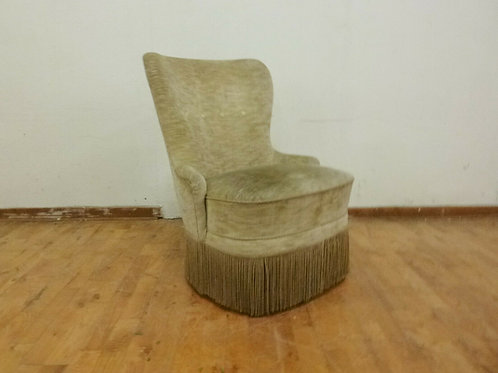 A Danish green fringed velour bedroom chair with tapered beech legs.