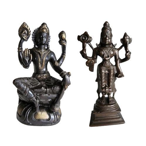 Statuettes Goddess Lakshmi Bronze gold plated brass India 1