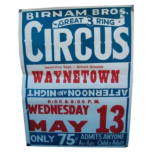 Vintage Original Birnam Bros 3 Ring Circus Poster Flyer 1