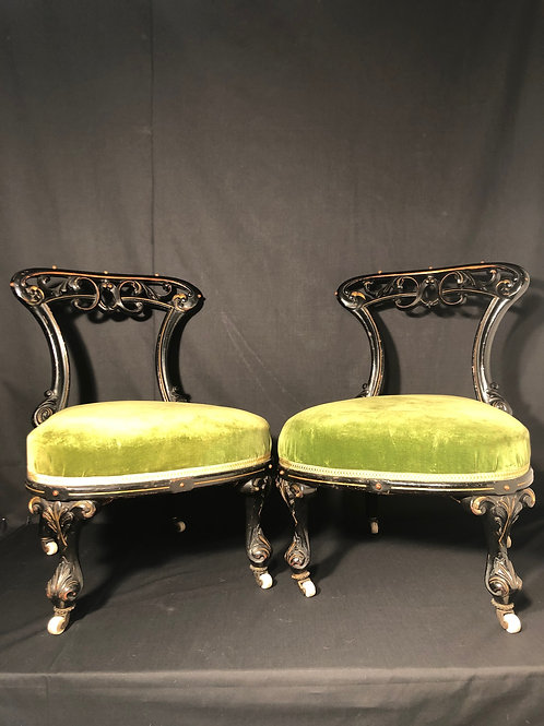 Decorative Pair of Victorian Ebonised Salon Chairs C1870