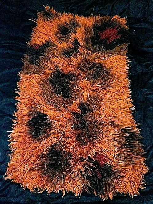 Vintage Shaggy Wool Scandinavian Rya Rug