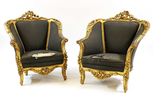 Pair Louis XVI Style Gilt Arm Chairs with Closed Arms.