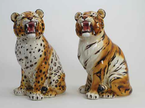 "Young  - ""Faience"" Ceramic Leopard & Tiger, hand-decorated"
