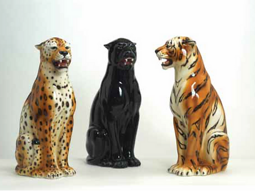 """Faience"" Ceramic leopard & panther medium"