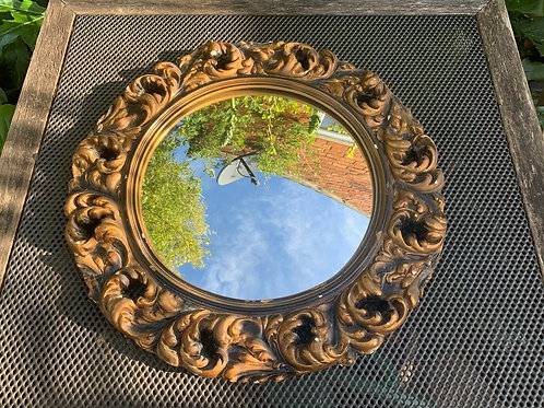 Antique Bulls Eye Convex Fish Eye Plaster Framed Mirror