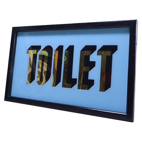 Reverse Glass Toilet Sign 1