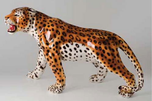 """""""Faience"""" Ceramic prowling leopard, hand-decorated"""