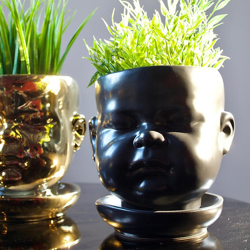 Closed Mouthed Ceramic Baby Face Pot / Vase