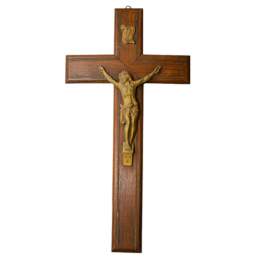 French Vintage Crucifix with Metal Jesus on a Wooden Cross Crucifix