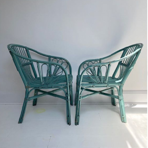 Pair of Blue / Green German Bamboo/Wicker Chairs