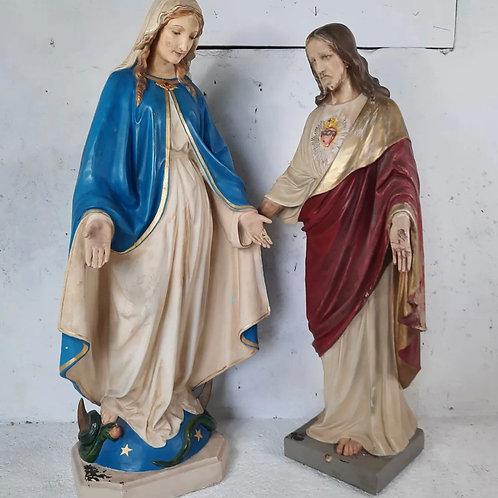 "Large 51"" Irish religious plaster icons"