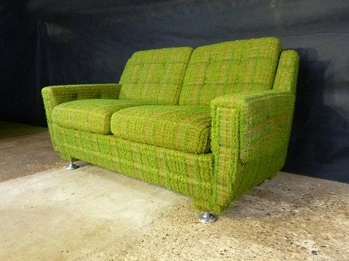 Danish Green Wool Two-Seater Sofa Vintage Retro Mid-Century Modern