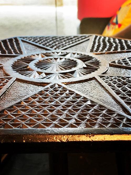Vintage Ebonised Sunburst Side Table / Plant Stand