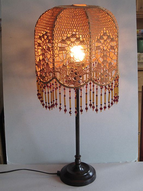 Table-table lamp with crocheted textile shade / Art Deco / bronze and silk