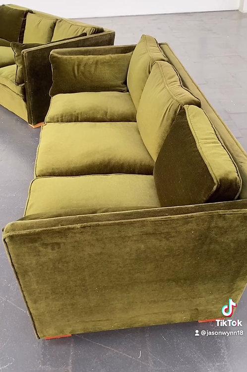 Moss Green Velvet Sofa. Sweden, 1970s
