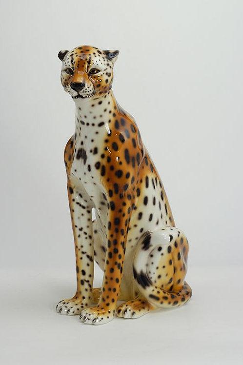 Outstanding Huge Italian Hand Decorated Ceramic Cheetah