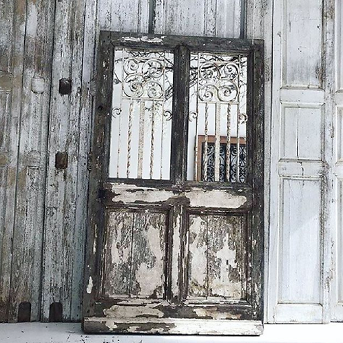 19th Century French Chateau door with original iron grills