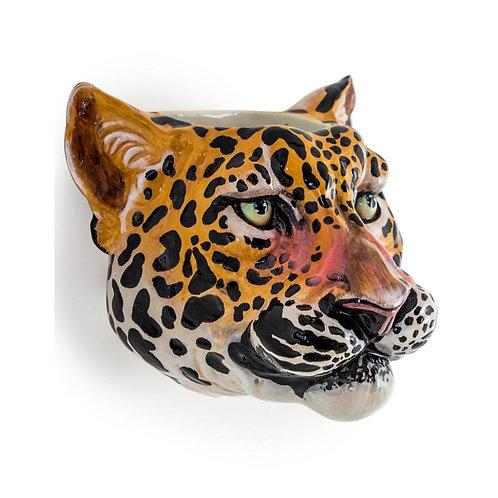 Leopard Ceramic Animal Head Wall Sconce / Vase