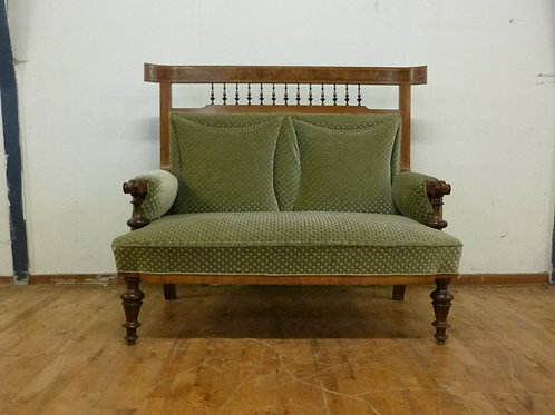 1950's Danish Mahogany High-Backed Sofa Settee Retro Vintage Twentieth Century