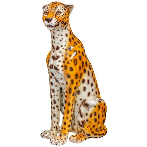 Large Vintage Ceramic Cheetah Statue 1