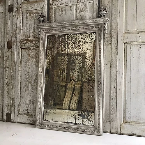 19th Century French Empire heavily foxed French Grey painted mirror