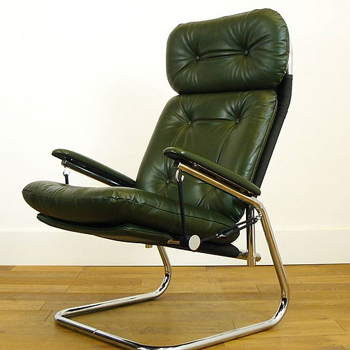 Chrome and Leather Mid Century Lounge Armchair