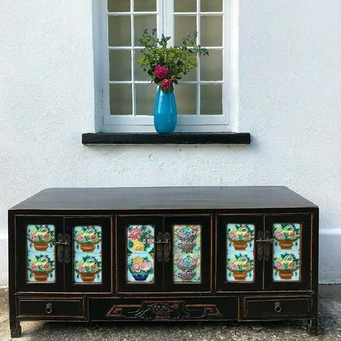Antique Low Sideboard Buffet Cupboard Cabinet