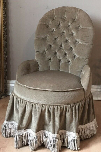 Vintage Button Back Dralon Boudoir Low Height Bedroom Chair