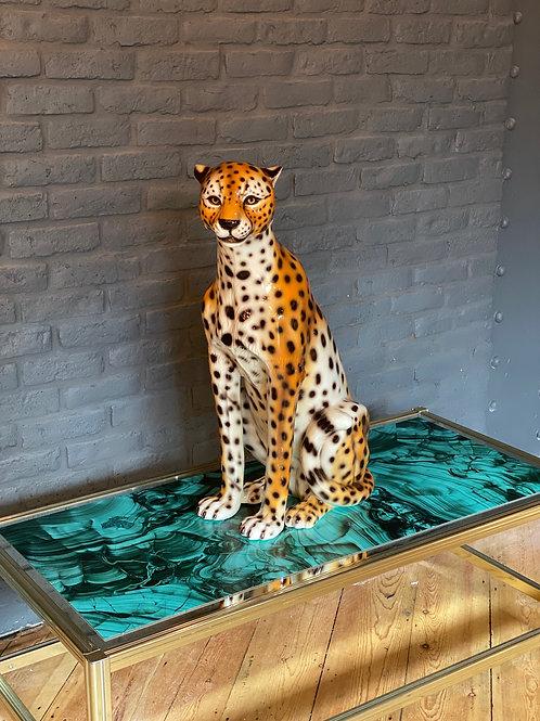 "Large ""Faience"" Ceramic cheetah"