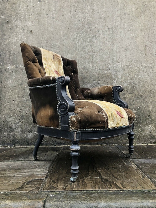 Rare 19thC Antique French Button Back Armchair - Napoleon III. c1860