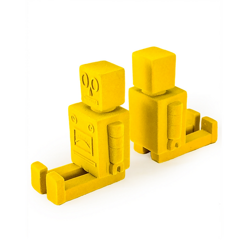 Yellow Flock Robot Bookends Pair