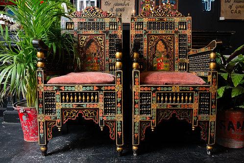 Pair Of Ebonised & Decorative Punjabi Wedding Chairs