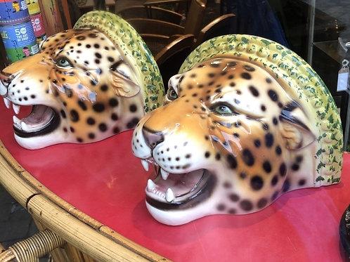 """Faience"" Ceramic leopard shelf, hand-decorated"