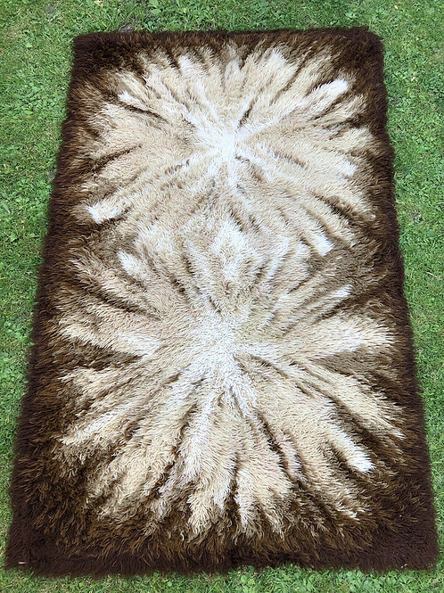 copy of Vintage Shaggy Wool Scandinavian Rya Rug