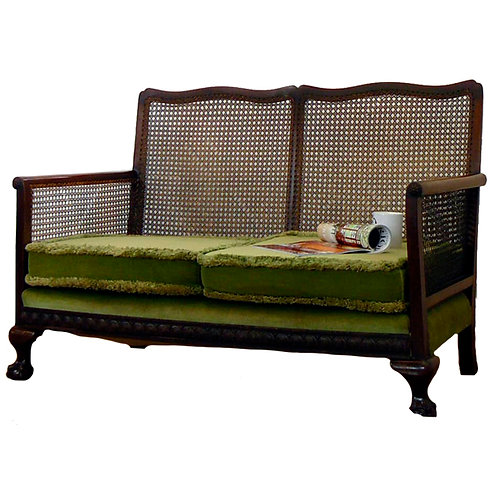 1930s 2 Seater Bergere sofa with tufted seats 1