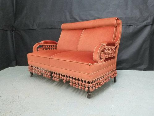 Wonderfully rare Orange Velour Two-Seater Sofa