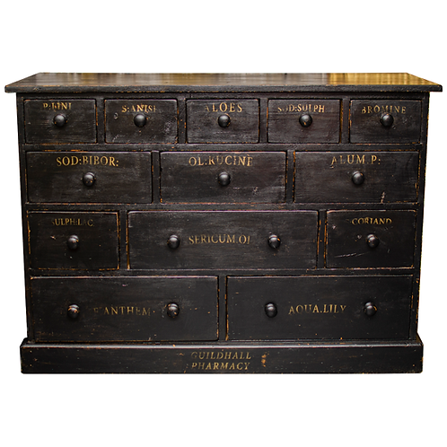 Ebonised Pine Apothecary Drawers Merchants Chest 1