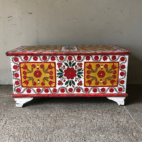 Antique Marriage Box With Folk Painting