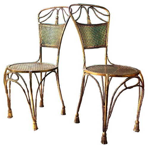1950s Gilt Metal Rope and Tassel Italian Chairs 1