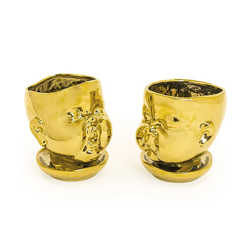 Open Mouthed Gold Plated Baby Face Pot / Vase