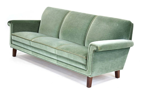 1960/70's Danish three seater sofa and High Back Armchair