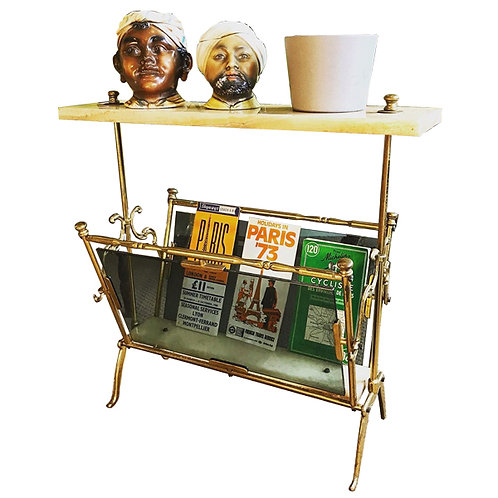 Great Mid-century brass and marble magazine rack