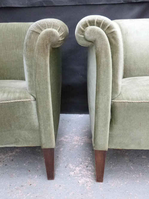 Pair of Danish Oak & Green Velour Tub Chairs