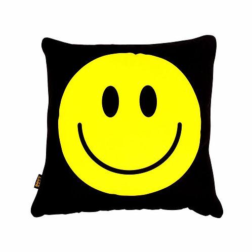 Happy Faces Cushion Black Acid Yellow Big 1